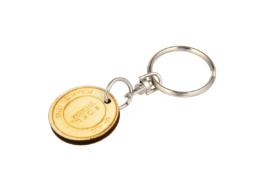 Schlüsselanhänger Münze Holz